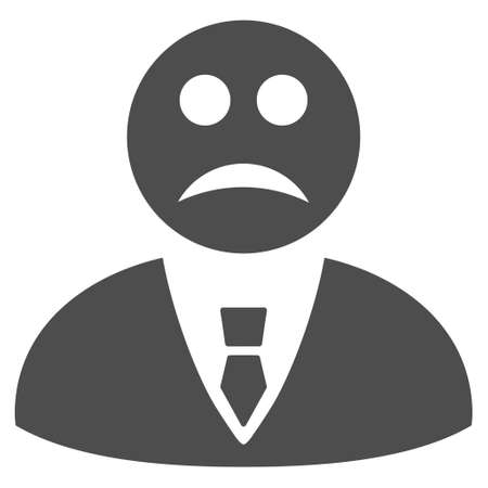 Sad manager vector icon. Style is flat graphic gray symbol. Ilustração