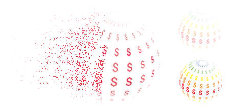 Abstract dollar sphere icon in fractured, pixelated halftone and entire variants. Fragments are organized into vector disappearing abstract dollar sphere icon. Illustration