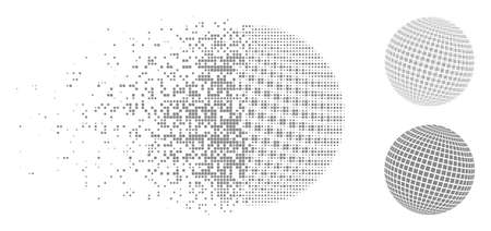 Square dotted abstract sphere icon in dispersed, dotted halftone and solid versions. Pieces are composed into vector dispersed square dotted abstract sphere icon.