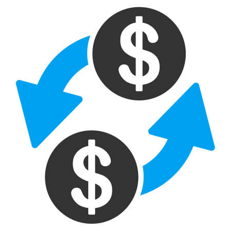 Dollar exchange flat raster icon. An isolated icon on a white background.