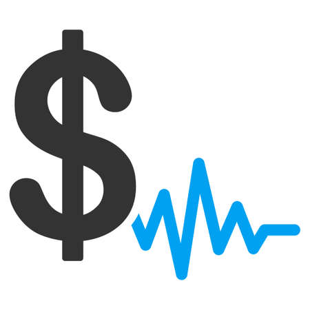 Dollar signal flat raster icon. An isolated icon on a white background.