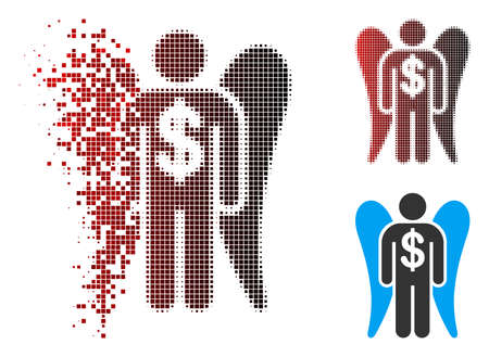 Angel investor icon with face in fractured, pixelated halftone and undamaged whole versions. Particles are organized into vector disappearing angel investor shape.
