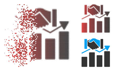 Acquisition graph icon with face in dissolved, pixelated halftone and undamaged entire versions. Fragments are combined into vector dispersed acquisition graph icon. Stock Illustratie
