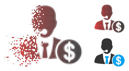 Bank call center icon with face in sparkle, dotted halftone and undamaged whole variants. Fragments are composed into vector disappearing bank call center icon.