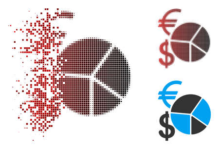 Currency pie chart icon with face in dissolved, dotted halftone and undamaged whole variants. Cells are arranged into vector dissolving currency pie chart icon.