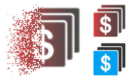 Finances icon with face in dispersed, pixelated halftone and undamaged whole versions. Fragments are organized into vector disappearing finances icon. 向量圖像