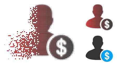 Investor icon with face in dispersed, pixelated halftone and undamaged entire variants. Pixels are arranged into vector dispersed investor icon.