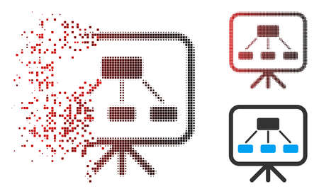 Scheme demonstration screen icon with face in dispersed, pixelated halftone and undamaged solid versions. Particles are arranged into vector dispersed scheme demonstration screen icon. Ilustração