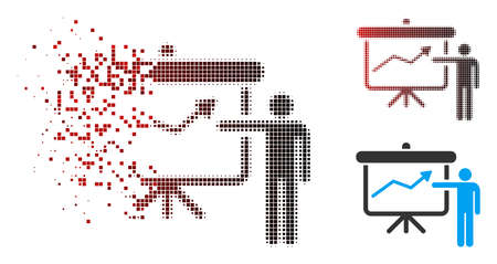 Project presentation icon with face in sparkle, pixelated halftone and undamaged entire variants. Pieces are arranged into vector disappearing project presentation figure.