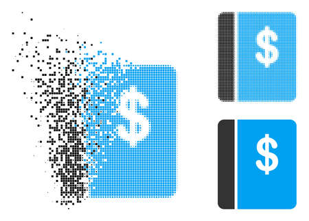 Accounting book icon in fragmented, dotted halftone and entire variants. Particles are arranged into vector disappearing accounting book figure. Disappearing effect involves rectangle particles.