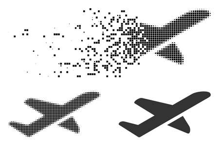 Airplane takeoff icon in dispersed, pixelated halftone and undamaged variants. Pieces are arranged into vector dissipated airplane takeoff icon. Disappearing effect involves rectangle scintillas.