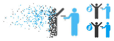 Armed robbery icon in dispersed, pixelated halftone and entire variants. Particles are arranged into vector disappearing armed robbery symbol. Disappearing effect involves rectangular scintillas. Reklamní fotografie - 108123813