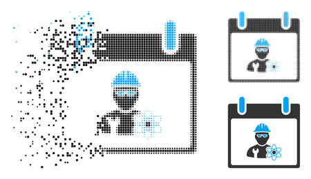 Atomic engineer calendar day icon in dispersed, dotted halftone and original variants. Elements are grouped into vector dissolving atomic engineer calendar day icon.