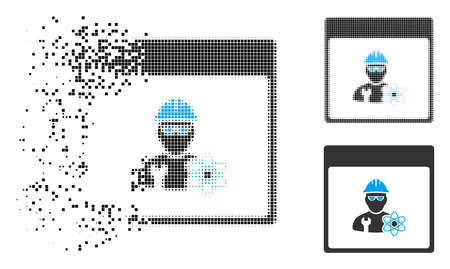 Atomic engineer calendar page icon in fractured, dotted halftone and undamaged variants. Pieces are organized into vector disappearing atomic engineer calendar page pictogram. Illustration