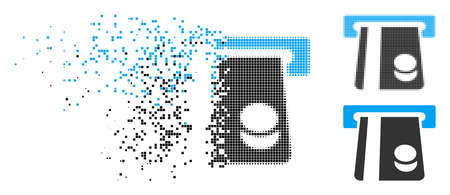 Bank card terminal icon in dissolved, dotted halftone and undamaged versions. Particles are composed into vector dispersed bank card terminal figure. Disappearing effect uses rectangular particles. Ilustração