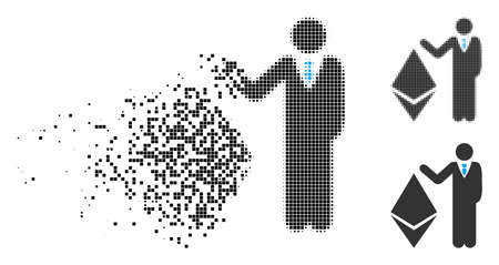 Banker show Ethereum icon in dispersed, dotted halftone and undamaged versions. Fragments are arranged into vector disappearing banker show Ethereum pictogram.