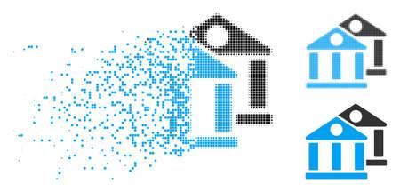 Banks-Symbol in fragmentierten, pixeligen Halbton- und ganzen Versionen. Die Stücke werden in Vektorsymbolen für verschwindende Banken gruppiert. Der verschwindende Effekt verwendet rechteckige Partikel.