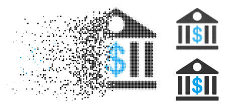 Bank building icon in dispersed, dotted halftone and undamaged variants. Pieces are grouped into vector disappearing bank building form. Disappearing effect uses rectangular dots. Ilustrace