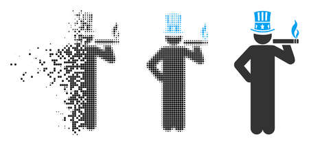 American capitalist icon in dispersed, pixelated halftone and original variants. Elements are grouped into vector dispersed American capitalist symbol.