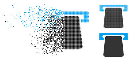 Bank ATM icon in dissolved, dotted halftone and whole versions. Elements are composed into vector disappearing bank ATM figure. Disappearing effect uses rectangular scintillas.