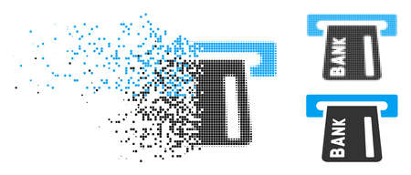 Banking ATM icon in dissolved, dotted halftone and entire versions. Pieces are organized into vector disappearing banking ATM shape. Disappearing effect uses square dots.
