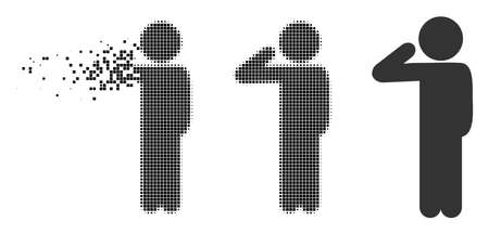Child salute icon in fragmented, dotted halftone and original variants. Particles are combined into vector dissipated child salute icon. Disintegration effect involves square dots.