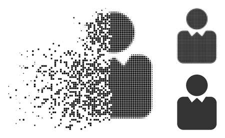 Client icon in dissolved, dotted halftone and undamaged variants. Fragments are combined into vector disappearing client icon. Disappearing effect involves rectangular scintillas.