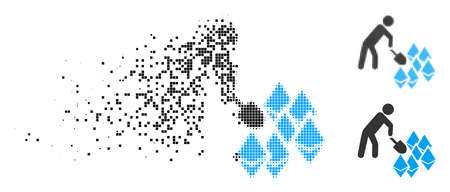 Person mining Ethereum icon in dispersed, dotted halftone and whole variants. Pieces are arranged into vector dispersed person mining Ethereum icon. Disintegration effect uses rectangular scintillas.