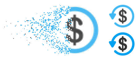 Refund icon in fragmented, pixelated halftone and solid versions. Pieces are arranged into vector disappearing refund symbol. Disappearing effect uses square dots.