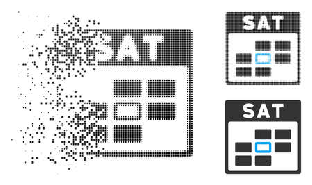 Saturday calendar grid icon in dispersed, pixelated halftone and entire versions. Points are organized into vector disappearing Saturday calendar grid icon. Disappearing effect uses square dots.