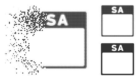 Saturday calendar page icon in dispersed, pixelated halftone and solid variants. Pixels are grouped into vector disappearing Saturday calendar page icon. Disappearing effect involves square particles.