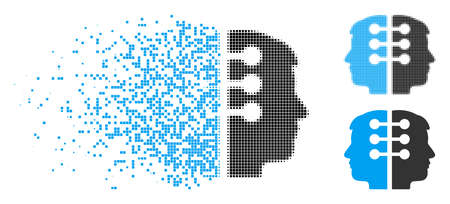 Dual head interface icon in dispersed, pixelated halftone and undamaged variants. Particles are combined into vector dispersed dual head interface form. Disappearing effect uses square particles.
