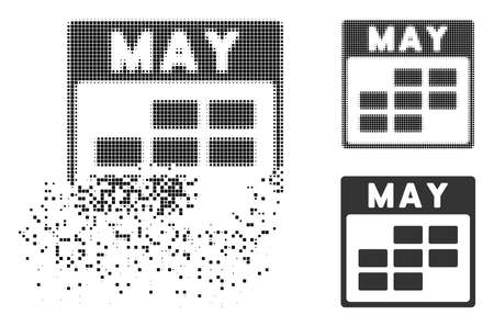 May calendar grid icon in dispersed, dotted halftone and original variants. Points are grouped into vector disappearing May calendar grid icon. Disappearing effect involves rectangle scintillas.