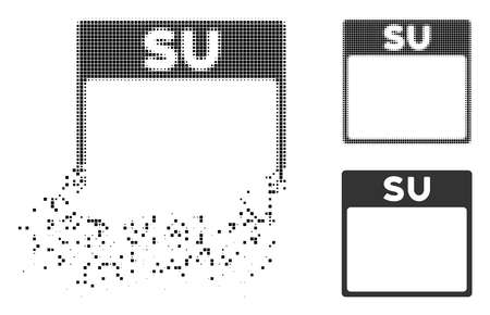 Sunday calendar page icon in dispersed, pixelated halftone and entire versions. Elements are grouped into vector disappearing Sunday calendar page figure.