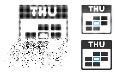 Thursday calendar grid icon in dispersed, dotted halftone and entire versions. Pieces are combined into vector dispersed Thursday calendar grid icon. Disintegration effect uses rectangular scintillas.