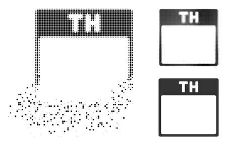 Thursday calendar page icon in dispersed, dotted halftone and whole variants. Pieces are grouped into vector dispersed Thursday calendar page icon. Disappearing effect uses rectangle scintillas.
