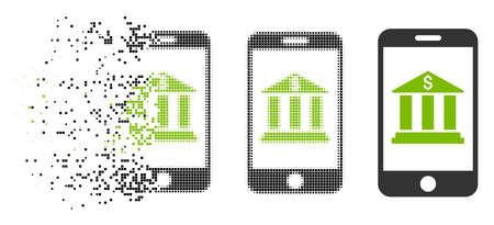 Mobile bank icon in dispersed, dotted halftone and entire versions. Elements are arranged into vector disappearing mobile bank icon. Disappearing effect involves rectangular dots.