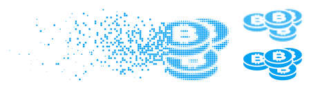 Bitcoin coins icon in dissolved, dotted halftone and solid variants. Elements are grouped into vector disappearing Bitcoin coins form. Disintegration effect involves square scintillas.
