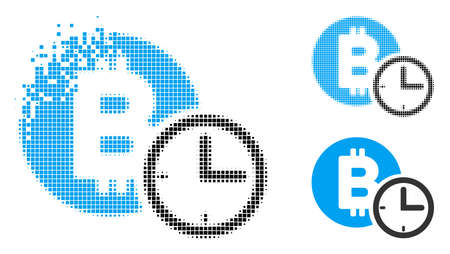 Bitcoin credit clock icon in fragmented, dotted halftone and solid versions. Particles are arranged into vector disappearing Bitcoin credit clock shape. Disappearing effect uses rectangular dots.
