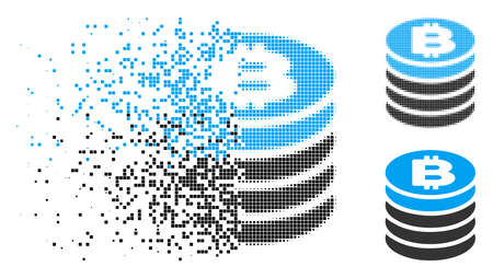 Bitcoin coin stack icon in dispersed, pixelated halftone and original variants. Pieces are organized into vector dissipated Bitcoin coin stack icon.