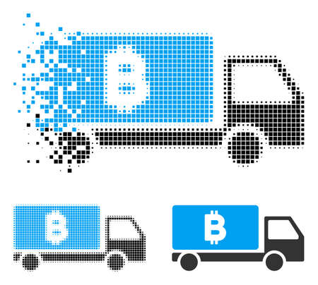 Bitcoin delivery car icon in fractured, dotted halftone and solid variants. Pixels are arranged into vector disappearing Bitcoin delivery car icon. Disappearing effect involves rectangular dots. Ilustrace