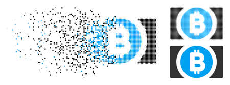 Bitcoin cash icon in fractured, dotted halftone and entire versions. Fragments are organized into vector disappearing Bitcoin cash icon. Disappearing effect involves square dots.