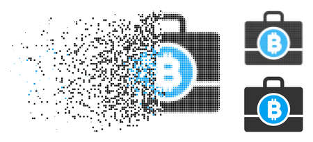 Bitcoin case icon in dispersed, dotted halftone and whole versions. Pixels are arranged into vector dispersed Bitcoin case shape. Disappearing effect involves rectangular particles.