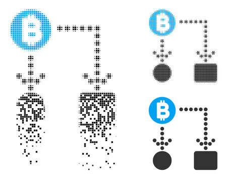 Bitcoin cashflow icon in dissolved, dotted halftone and whole versions. Pieces are combined into vector disappearing Bitcoin cashflow shape. Disappearing effect uses rectangle dots. Illustration