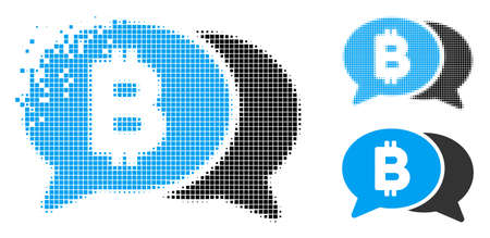 Bitcoin chat icon in dissolved, dotted halftone and original variants. Particles are combined into vector disappearing Bitcoin chat shape. Disappearing effect uses rectangle particles.