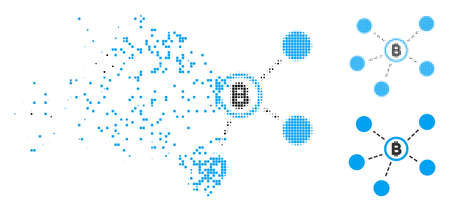 Bitcoin network icon in dispersed, dotted halftone and whole variants. Particles are combined into vector dispersed Bitcoin network symbol. Disappearing effect uses square dots.