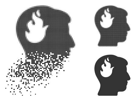 Brain fire icon in dispersed, dotted halftone and whole variants. Elements are grouped into vector disappearing brain fire shape. Disappearing effect involves square dots.
