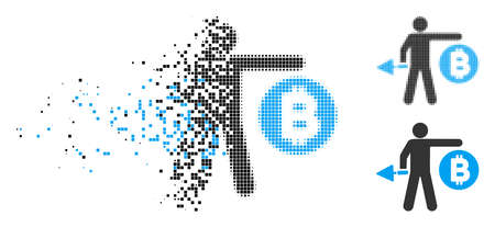 Bitcoin miner icon in fragmented, pixelated halftone and original variants. Pixels are arranged into vector dissolving Bitcoin miner icon. Disintegration effect involves square particles.