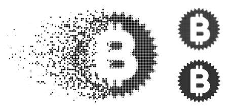 Bitcoin medal coin icon in fragmented, pixelated halftone and original variants. Points are grouped into vector dissipated Bitcoin medal coin icon. Disappearing effect uses rectangular dots.