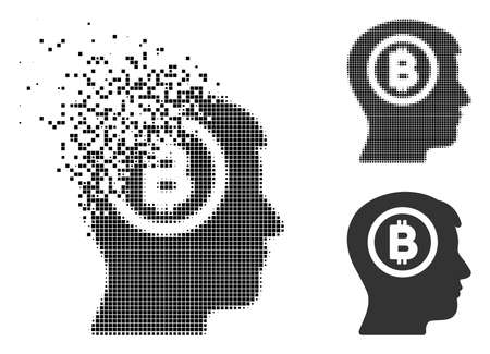 Bitcoin thinking head icon in dispersed, pixelated halftone and entire versions. Cells are arranged into vector dispersed Bitcoin thinking head icon. Disintegration effect involves square dots.